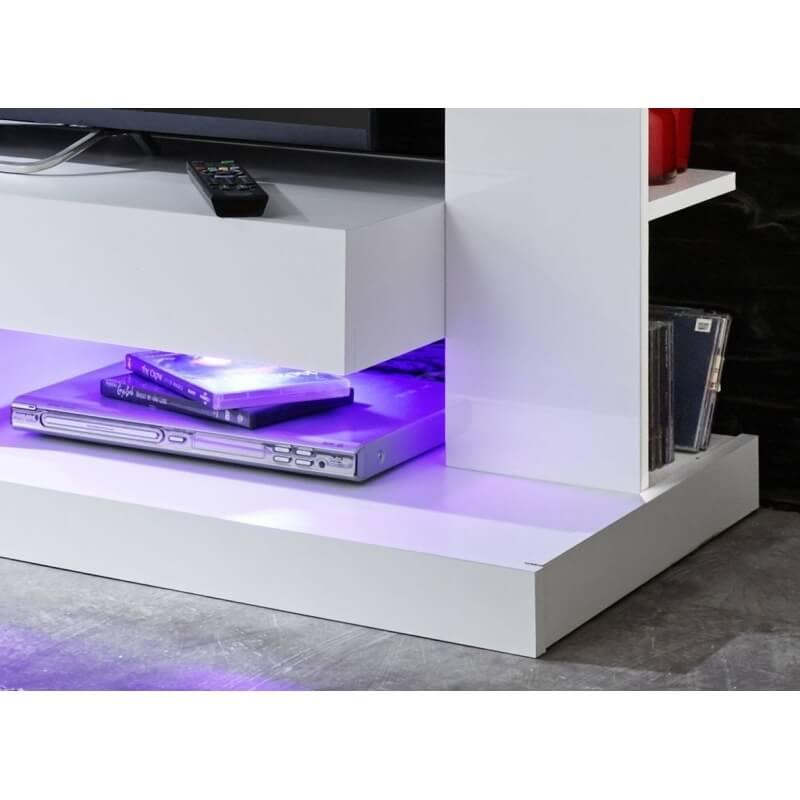 banc tv design laqu blanc drice matelpro. Black Bedroom Furniture Sets. Home Design Ideas