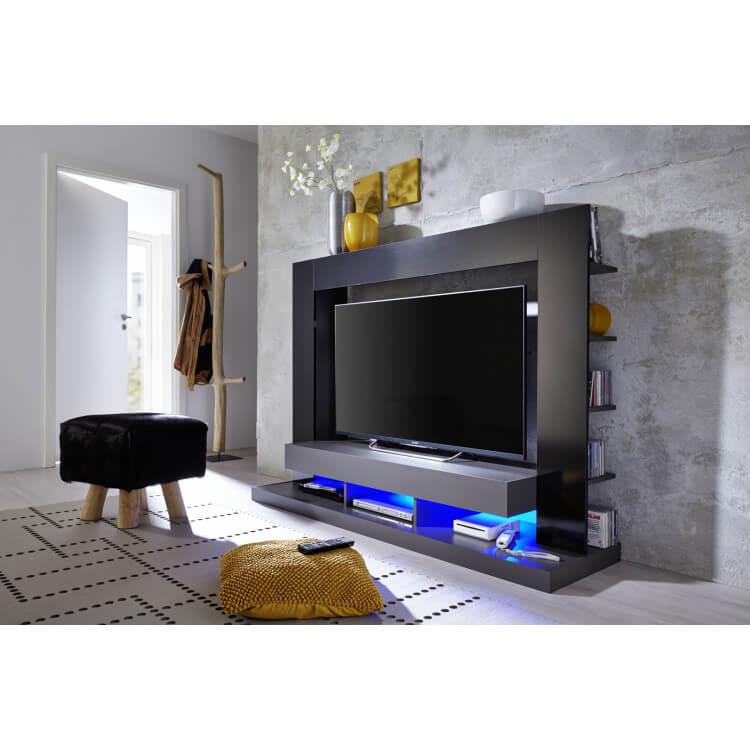 Banc TV design laqué noir Drice