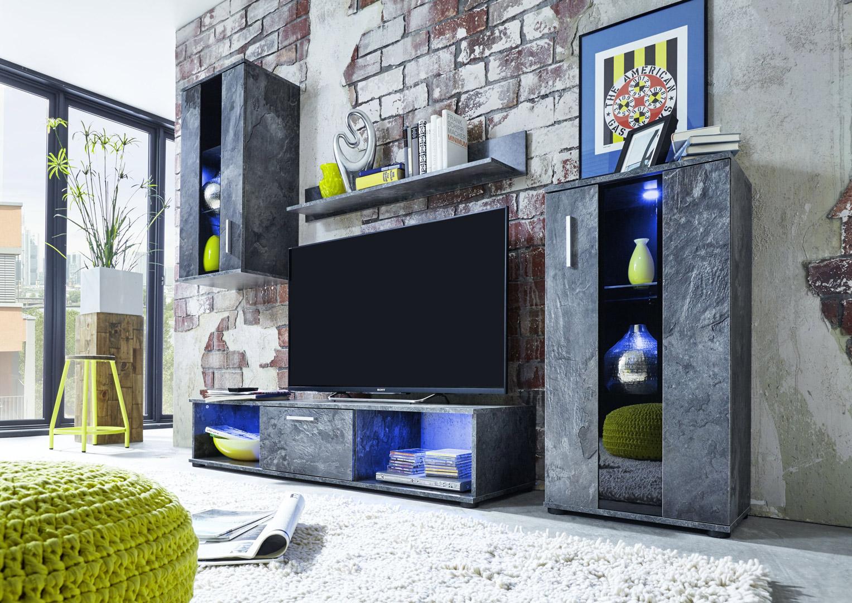 Composition TV design coloris gris ardoise avec éclairage Eliana
