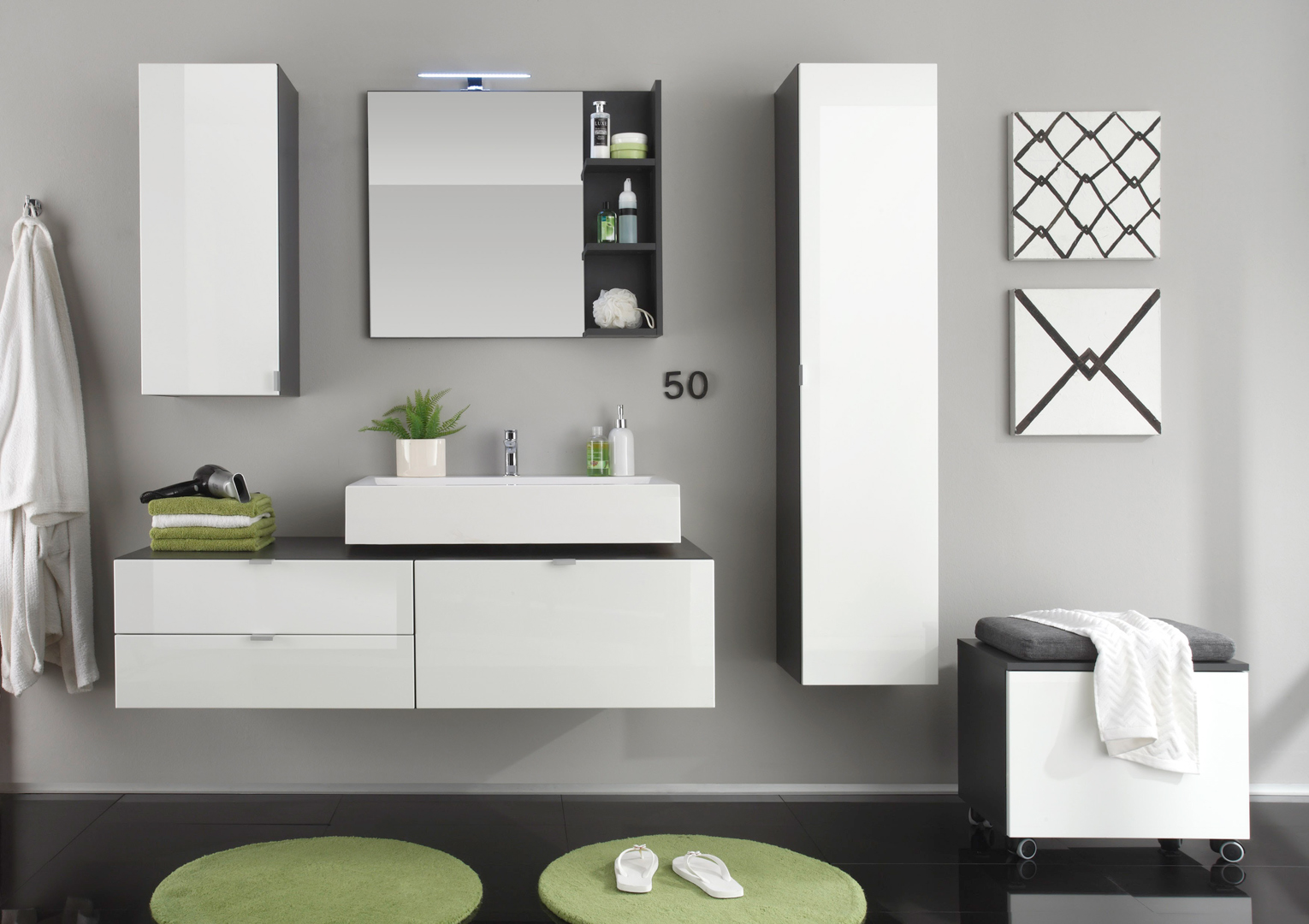 meuble haut de salle de bain design gris blanc laqu. Black Bedroom Furniture Sets. Home Design Ideas