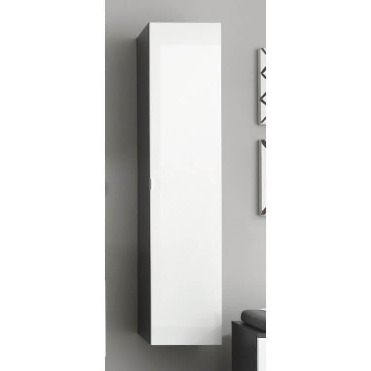 Colonne de salle de bain suspendue design gris/blanc laqué Messine