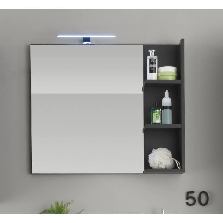 Miroir de salle de bain avec éclairage coloris gris Messine
