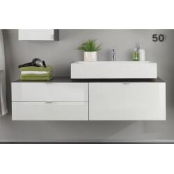 Meuble sous lavabo suspendu design gris/blanc laqué Messine