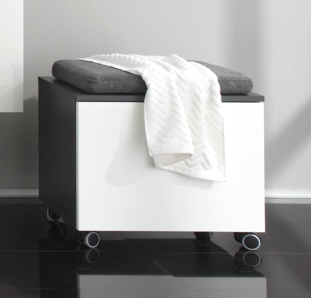 Meuble de rangement design de salle de bain gris/blanc laqué Messine