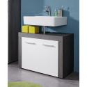 Meuble sous lavabo contemporain coloris gris foncé/blanc Bergamo
