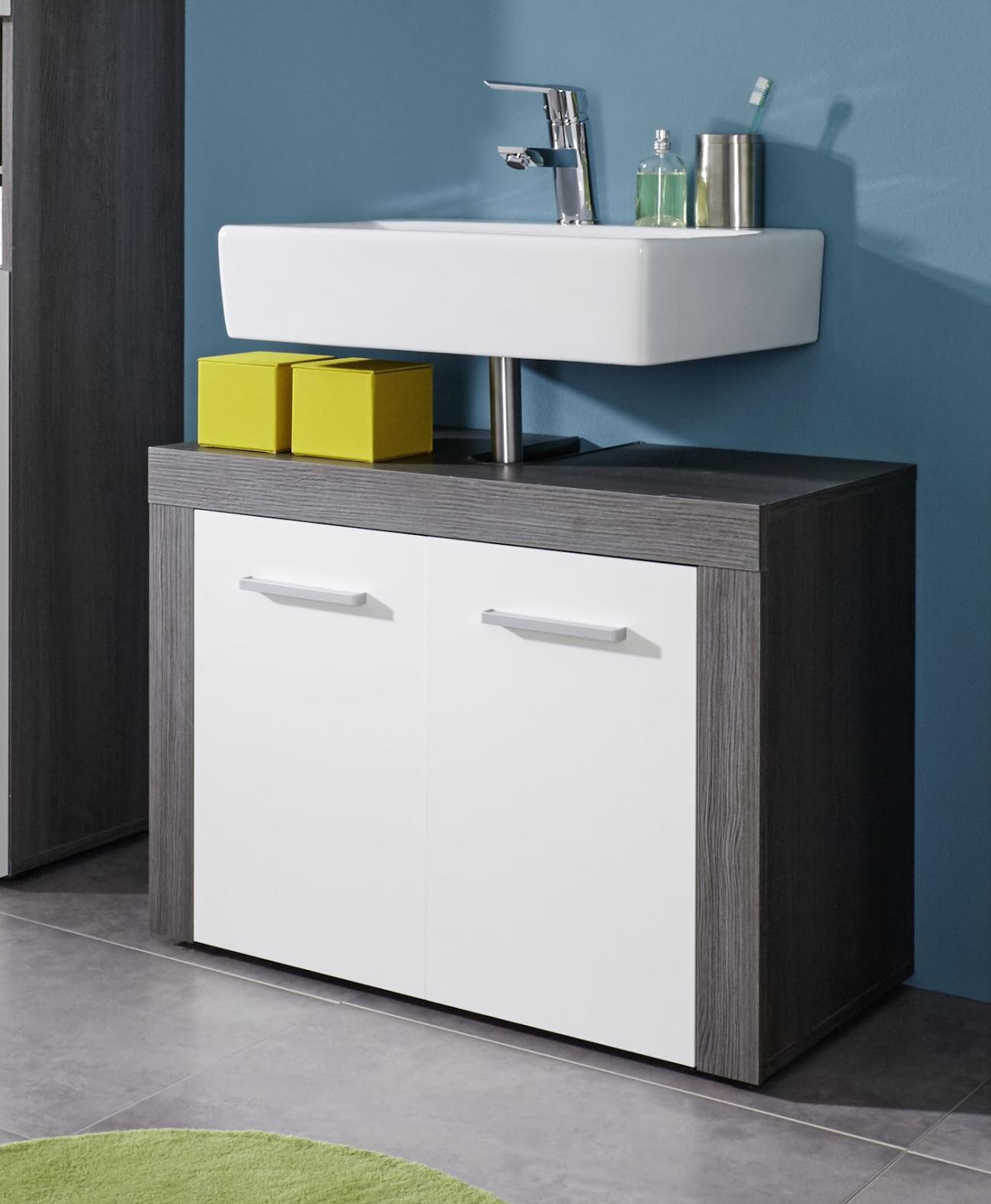 Meuble sous lavabo contemporain coloris gris foncé/blanc Bergamo ...