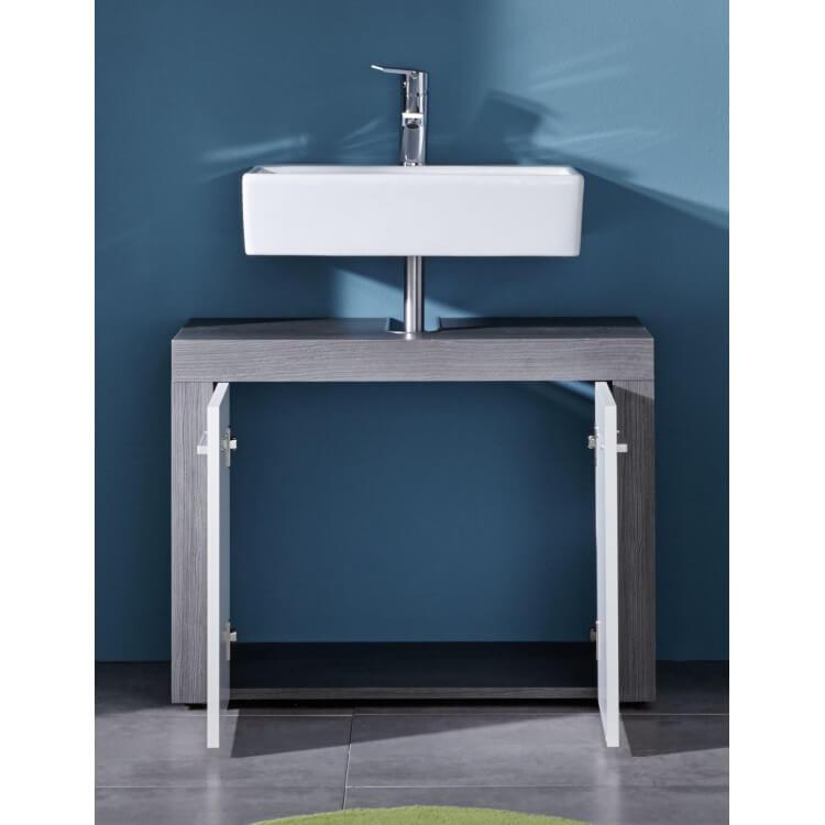 meuble sous lavabo contemporain coloris gris fonc blanc bergamo matelpro. Black Bedroom Furniture Sets. Home Design Ideas