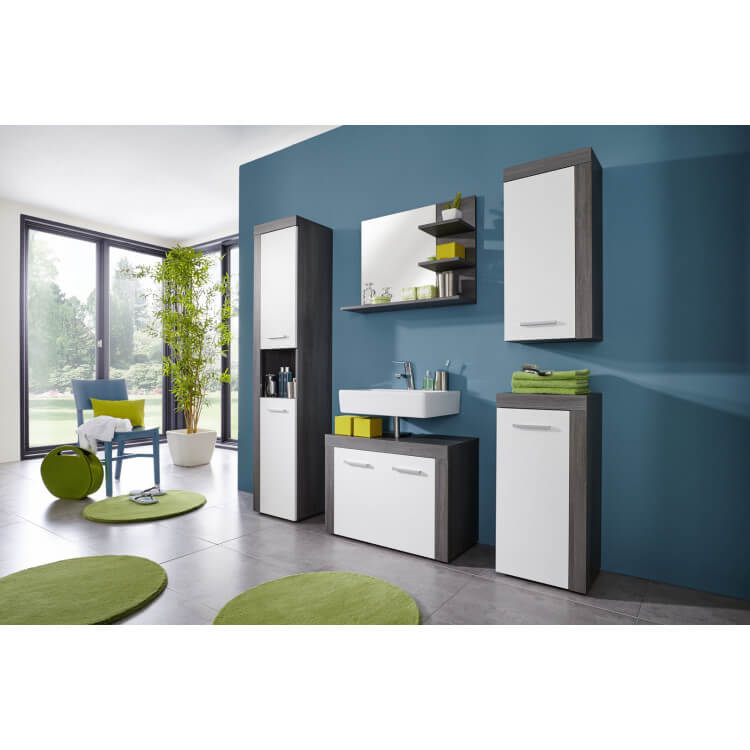 meuble sous lavabo contemporain coloris gris fonc blanc bergamo matelpro. Black Bedroom Furniture Sets. Home Design Ideas
