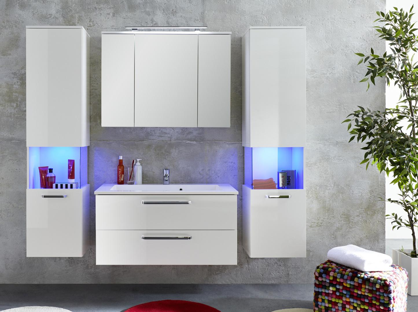 Meuble Sous Lavabo Design Blanc Brillant Massalia