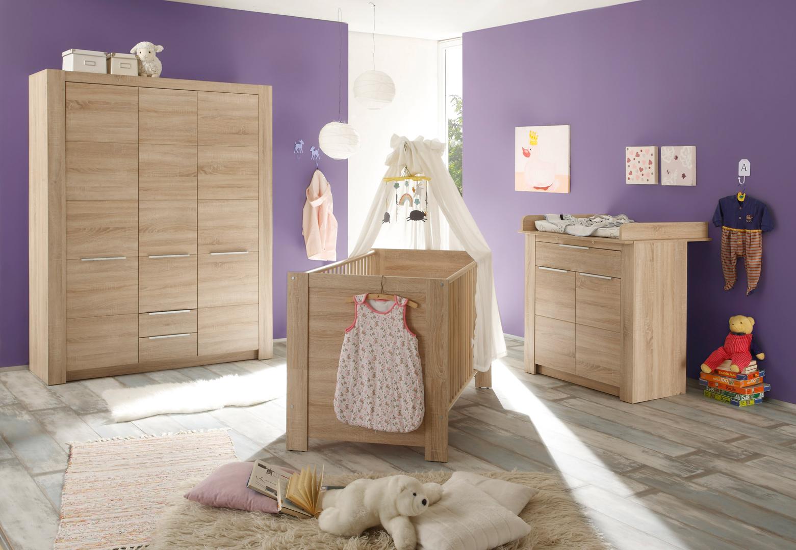 Chambre bébé contemporaine chêne clair Charlotte II