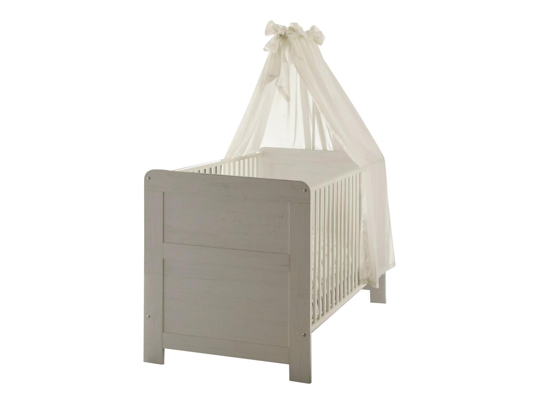 Lit bébé à barreaux contemporain coloris pin blanchi Chloé