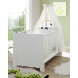 Lit bébé à barreaux contemporain coloris blanc Alexane
