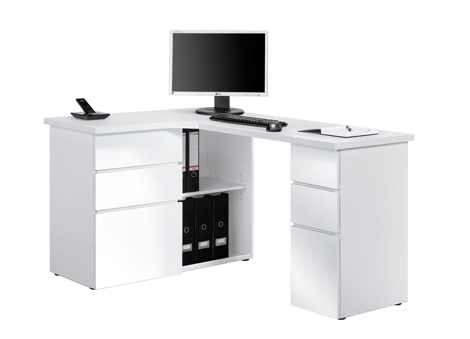 Bureau Informatique Dangle Contemporain Avec Rangement Blanc