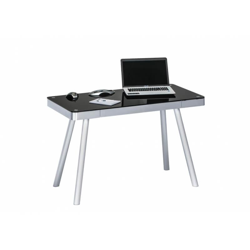 bureau informatique design m tal et verre noir harty. Black Bedroom Furniture Sets. Home Design Ideas