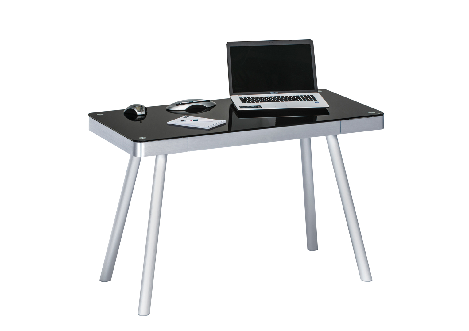 Bureau informatique design métal et verre noir harty