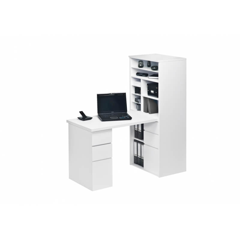 bureau contemporain avec rangement blanc brillant romuald matelpro. Black Bedroom Furniture Sets. Home Design Ideas