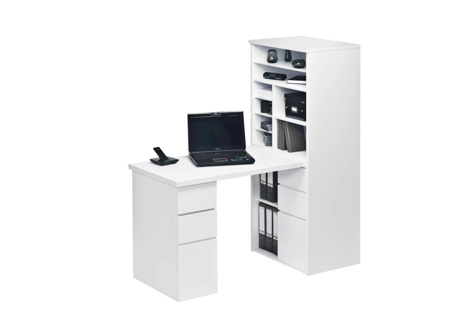 Bureau contemporain avec rangement blanc brillant romuald matelpro