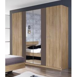Armoire adulte contemporaine 4 portes chêne/gris Maurine