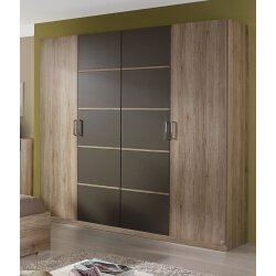 Armoire adulte contemporaine 4 portes chêne/gris Hebertine