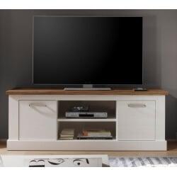 Meuble TV contemporain pin blanc/noyer Hamilton