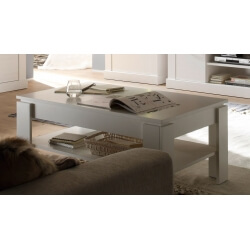 Table basse contemporaine rectangulaire pin blanc Hamilton