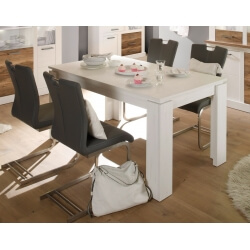 Table de salle à manger contemporaine extensible pin blanc Hamilton