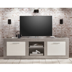 Meuble TV design blanc brillant/gris béton Alessia