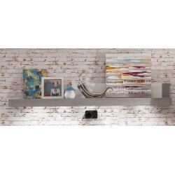 Etagère murale design blanc brillant/gris béton Alessia