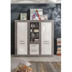 Vaisselier/argentier design blanc brillant/gris béton Alessia