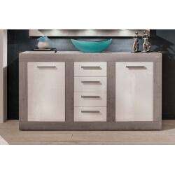 Buffet/bahut design blanc brillant/gris béton Alessia