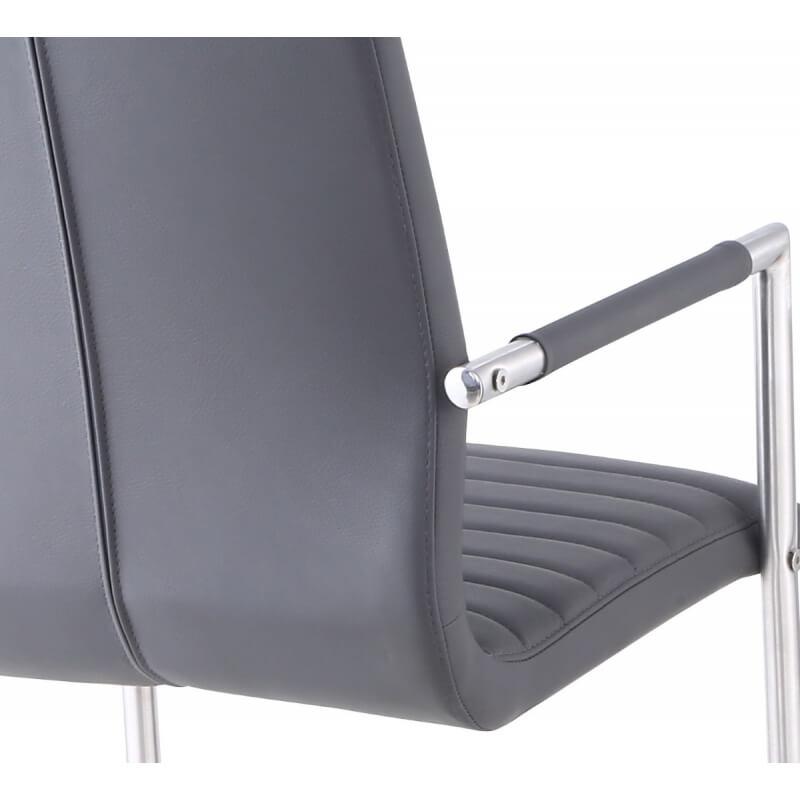 fauteuil de salle manger design m tal et pu gris lot de. Black Bedroom Furniture Sets. Home Design Ideas
