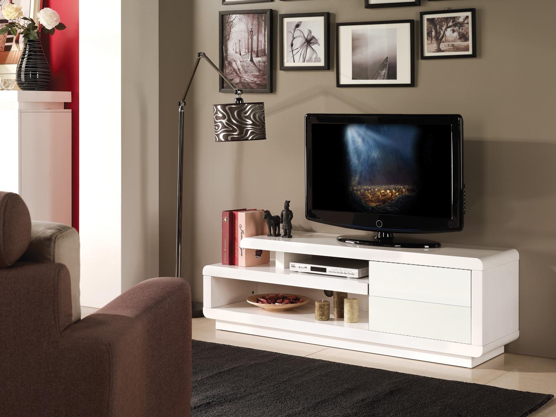 Meuble Tv Design Blanc Brillant Lydia Matelpro