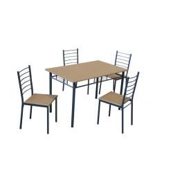 Ensemble table et chaises contemporain chêne/gris Elsa