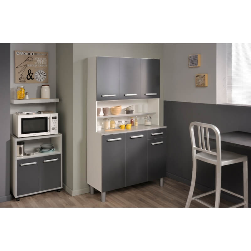 buffet de cuisine contemporain gris brillant judith matelpro. Black Bedroom Furniture Sets. Home Design Ideas