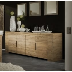 Buffet/bahut contemporain 4 portes coloris miel Amarena