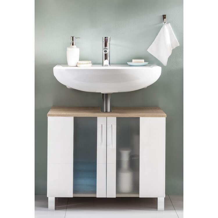 Meuble sous lavabo contemporain chêne/blanc Cathy | Matelpro