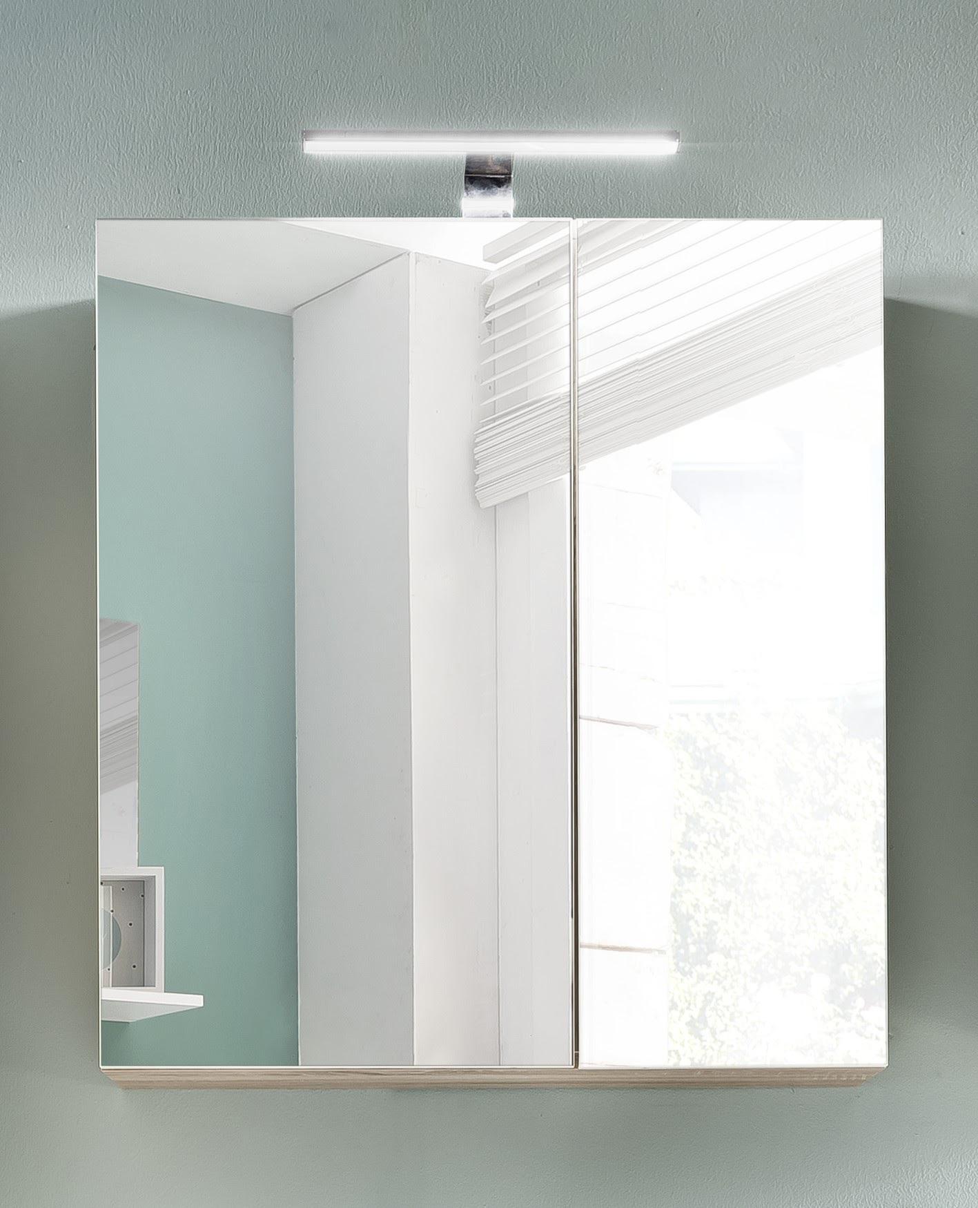 Armoire de toilette contemporaine avec éclairage coloris chêne Cathy