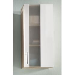 Meuble haut de salle de bain 1 porte chêne/blanc Cathy
