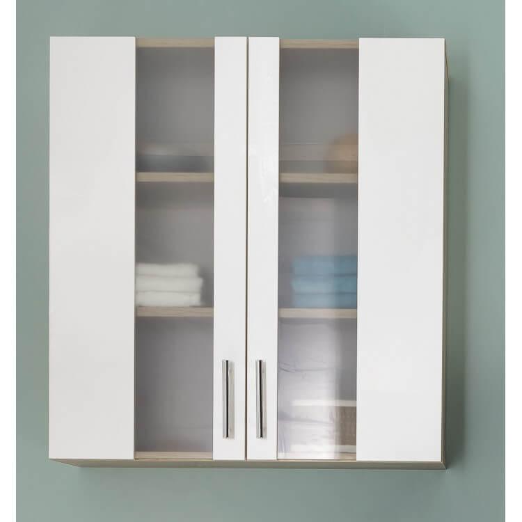 Meuble haut de salle de bain 2 portes chêne/blanc Cathy | Matelpro