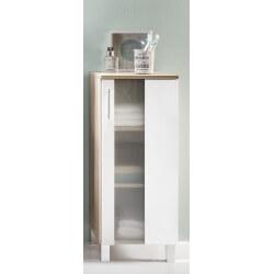 Meuble bas de salle de bain 1 porte chêne/blanc Cathy