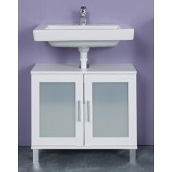 Meuble sous lavabo contemporain blanc Yolo