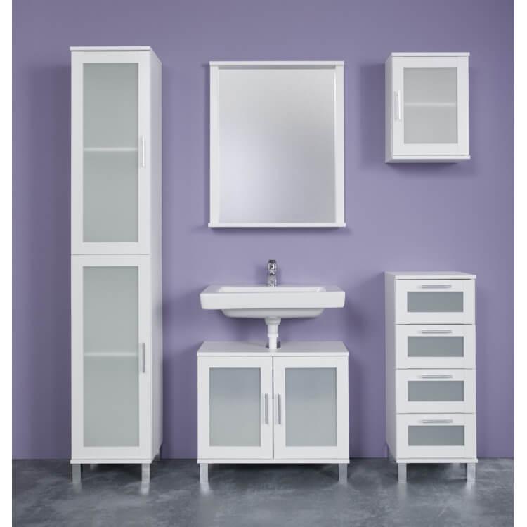 Ensemble de salle de bain contemporain blanc Yolo | Matelpro