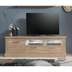 Meuble TV contemporain 2 tiroirs chêne clair Zahara