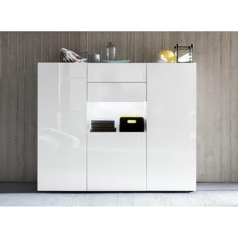 Meuble de rangement design avec clairage laqu blanc esther Meuble rangement design