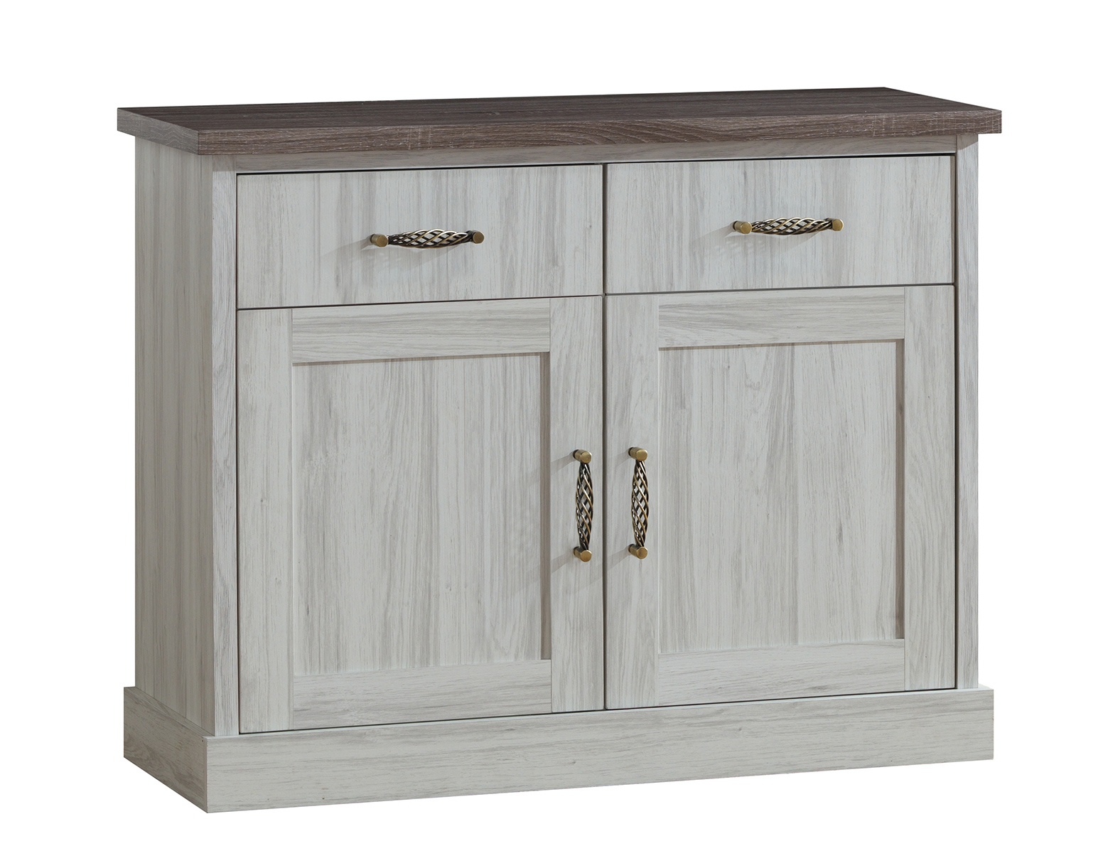 Commode contemporaine 2 portes/2 tiroirs chêne clair/marron Solange