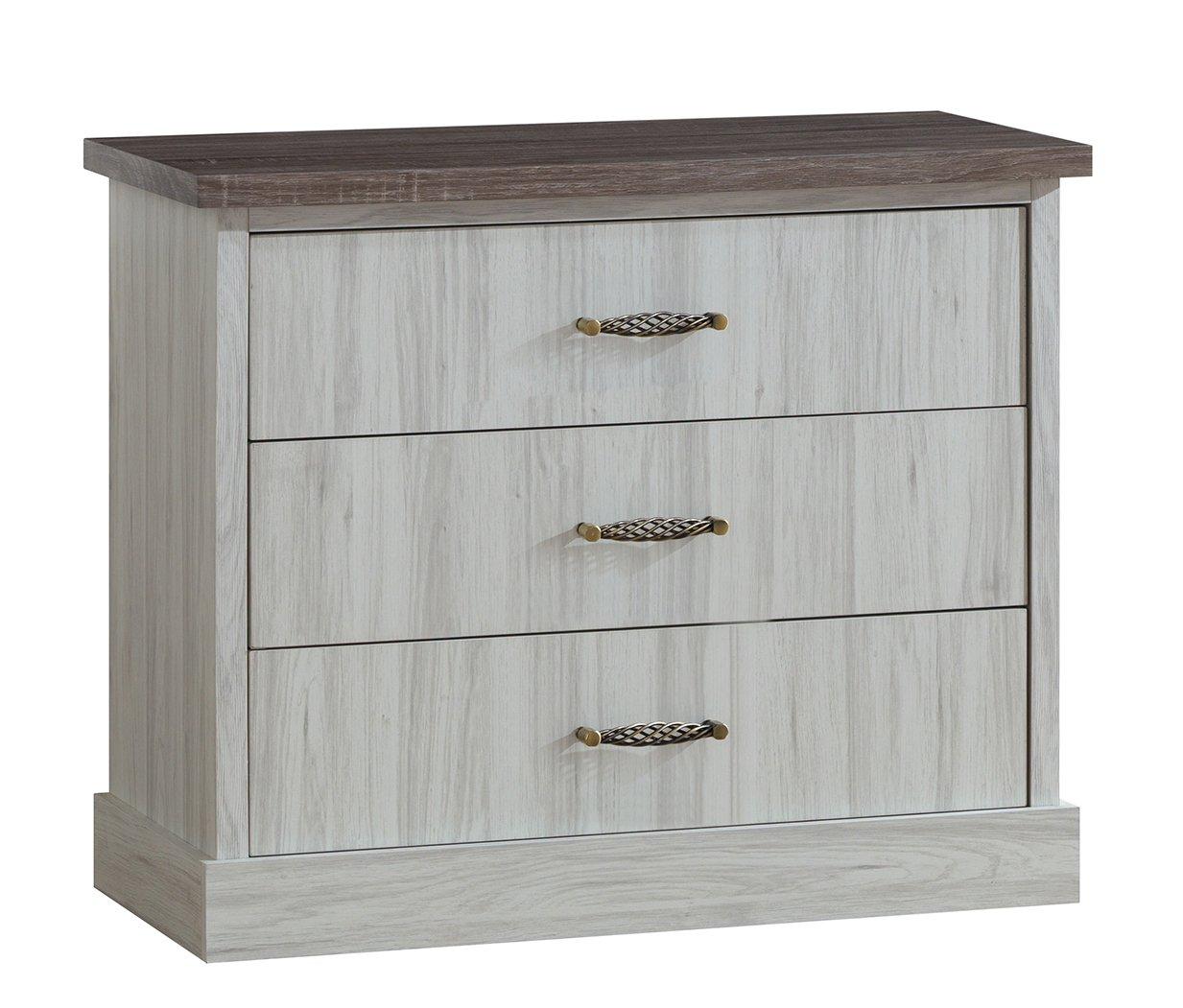 Commode contemporaine 3 tiroirs chêne clair/marron Solange