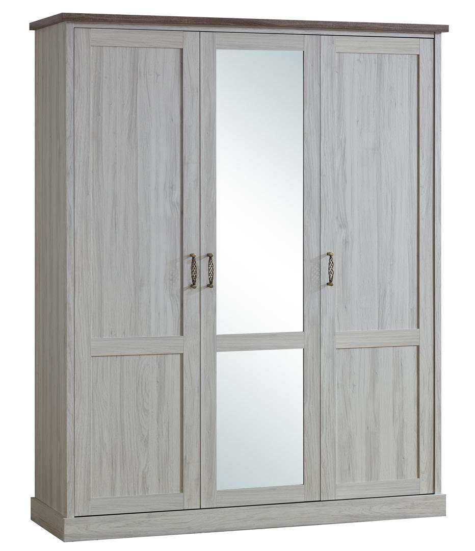 Armoire contemporaine 3 portes chêne clair/marron Solange