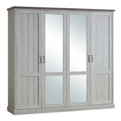 Armoire contemporaine 4 portes chêne clair/marron Solange