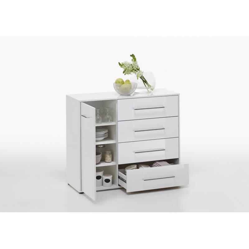meuble de rangement contemporain 1 porte 4 tiroirs laqu. Black Bedroom Furniture Sets. Home Design Ideas