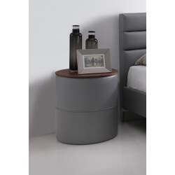 Chevet contemporain rond en PU gris Emerick